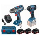 Akumuliatorinių įrankių rinkinys Bosch GDR 18V-Li (GSR 18-2-Li PLUS+ GDR 18 V-Li); 18 V; 3x4,0 Ah