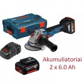 Akumuliatorinis kampinis šlifuoklis Bosch GWS 18V-125 C 6.0Ah Professional (18V 2x6.0Ah)