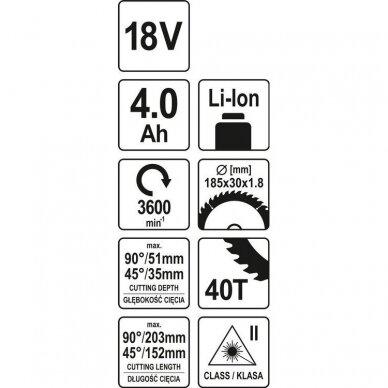 Akumuliatorinės medžio pjovimo staklės Yato YT-82816, 185 mm, 18V, 1x4.0Ah 4
