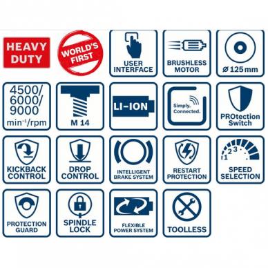 Akumuliatorinis kampinis šlifuoklis Bosch GWS 18V-10 PSC, 18V, 2 x  5.0Ah + 1 x 8.0Ah 9