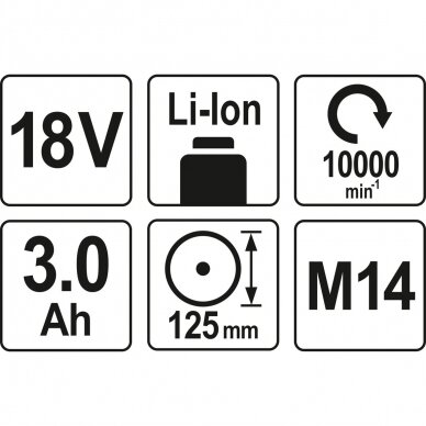 Akumuliatorinis kampinis šlifuoklis Yato YT-82828 125 mm 18V, 2x3.0 Ah 4