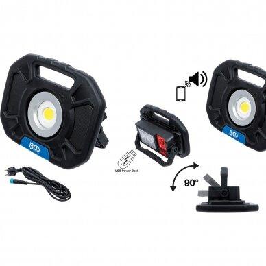 Akumuliatorinis prožektorius su garsiakalbiais BGS-technic, 40W, Bluetooth 10