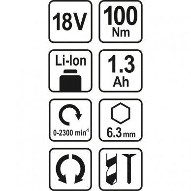 Akumuliatorinis suktukas Sthor 78961, 18V, 1.3Ah 2