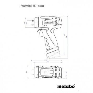 Akumuliatorinis suktuvas - gręžtuvas Metabo POWERMAXX BS BASIC 12V, 2x2.0Ah 3