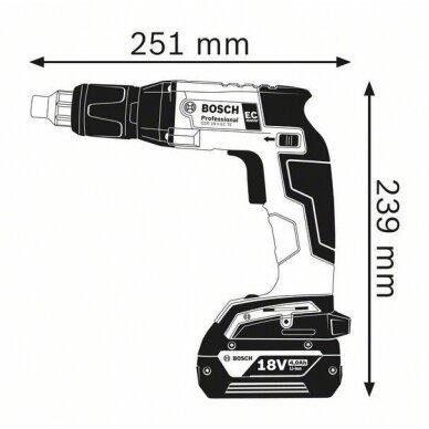 Akumuliatorinis suktuvas sausosios statybos Bosch GSR 18 V-EC TE Professional, 2x4.0Ah + AF55 6