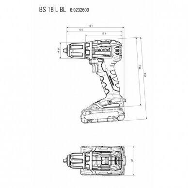 Akumuliatorinis suktuvas/gręžtuvas BS 18 L BL / 2x 2,0Ah, Metabo 5
