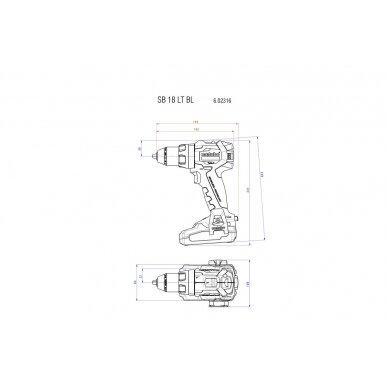 Akumuliatorinis suktuvo/gręžtuvo SB 18 LT BL Pilnas komplektas 2x18V 4,0Ah , Metabo 4