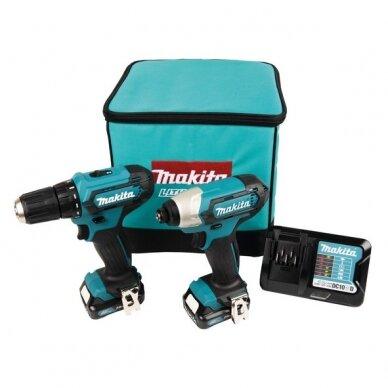 Akumuliatorinių įrankių komplektas Makita CLX224A 12V MAX; 2x2,0 Ah Li-ion (DF333D + TD110D šaltkrepšyje)