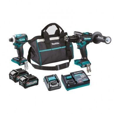 Akumuliatorinių įrankių rinkinys XGT ®, 40Vmax Makita DK0114G201 (TD001GZ+HP001GZ), 2x4,0Ah