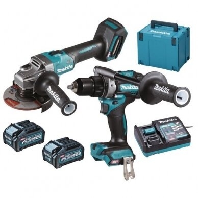 Akumuliatorinių įrankių rinkinys XGT ®, 40Vmax Makita DK0124G201 (GA005GZ+DF001GZ), 2x4,0Ah