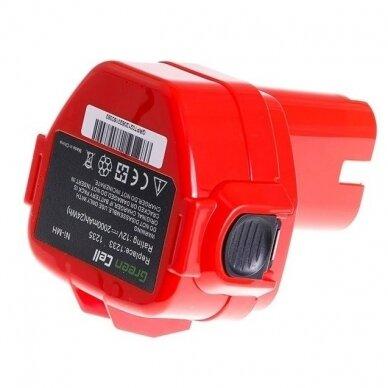 Akumuliatorius baterija analogiška Makita 12V, 2Ah (tinka Ni-MH, NI-CD) PT02 2