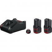 Baterijų ir kroviklio komplektas Bosch 2 x GBA 12V 3.0Ah + GAL 12V-40 Professional