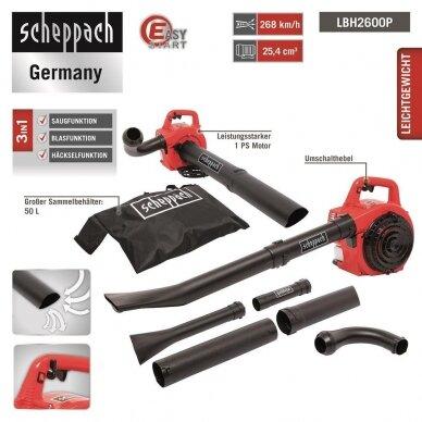 Benzininis lapų pūstuvas - siurblys - smulkintuvas (3-in-1) Scheppach LBH2600P, 1Ag 2