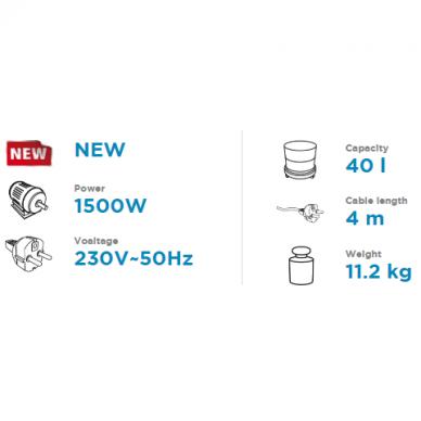 Dulkių siurblys pramoninis Graphite 59G608, 1500W 2