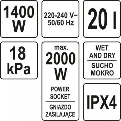 Dulkių siurblys pramoninis Yato, drėgna ir sausa funkcija, 1400W, 20 l (YT-85700) 5