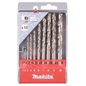Grąžtų komplektas 10 vnt. (1-10mm) metalui HSS-G Makita D-57205