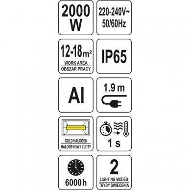 Infraraudonųjų spindulių šildytuvas su pulteliu Yato YT-99532, 2000W 7