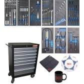 Įrankių spintelė BGS-technic, 7 stalčiai su 120 įrankių