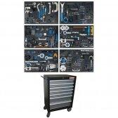 Įrankių spintelė su ratukais BGS-technic, 7 stalčiai, su variklio fiksavimo įrankiais
