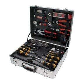 Įrankių komplektas su aliuminiu lagaminu KRAFTMANN 129 vnt.