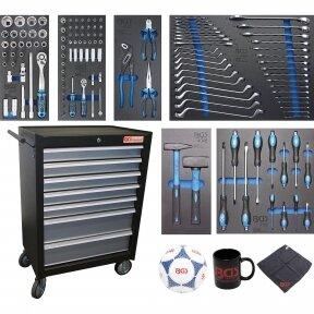 Įrankių spintelė BGS-technic, 7 stalčiai su 129 įrankiais