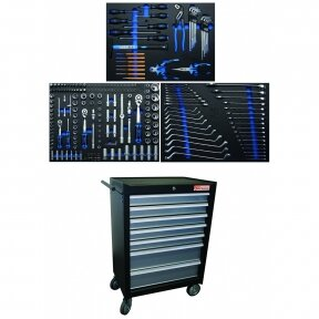 Įrankių spintelė BGS-technic 7 stalčiai su 263 įrankiais
