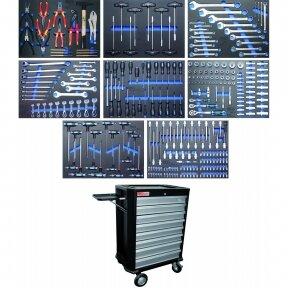 Įrankių spintelė su ratukais BGS-technic, 8 stalčiai su 296 įrankiais