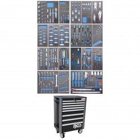 Įrankių spintelė su ratukais BGS-technic Profi Exclusive su 259 įrankiais
