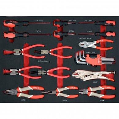 Įrankių spintelė Yato su 162 įrankiais, 3 stalčiais (YT-55280) 10