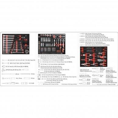 Įrankių spintelė Yato su 162 įrankiais, 3 stalčiais (YT-55280) 11