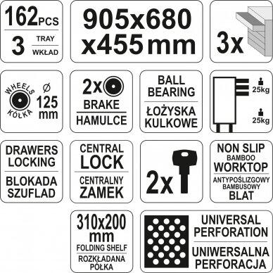 Įrankių spintelė Yato su 162 įrankiais, 3 stalčiais (YT-55280) 12