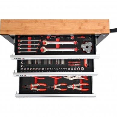 Įrankių spintelė Yato su 162 įrankiais, 3 stalčiais (YT-55280) 5