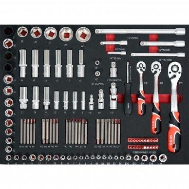 Įrankių spintelė Yato su 162 įrankiais, 3 stalčiais (YT-55280) 9