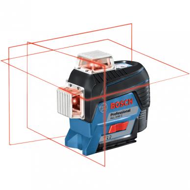 Linijinis lazerinis nivelyras Bosch GLL 3-80 C Professional 2Ah + laikiklis BM1 + imtuvas LR7 2