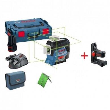 Linijinis lazerinis nivelyras Bosch GLL 3-80 CG Professional + 2.0Ah + BM1 + L-Boxx 2