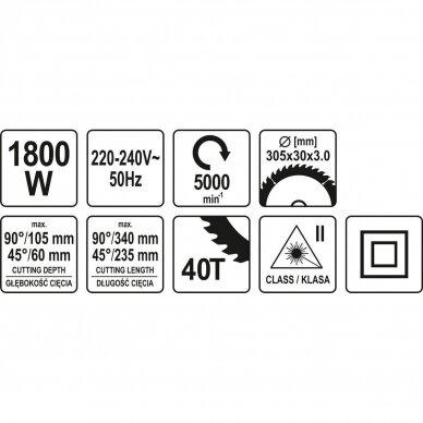 Medžio pjovimo staklės Yato YT-82175, 1800W, 305mm 7