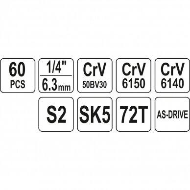Meistro įrankių rinkinys Yato YT-38920, 60 vnt. 5