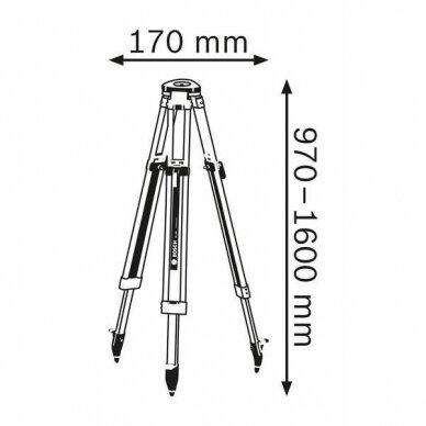Optinis nivelyras Bosch GOL 32D + stovas BT 160 + liniuotė GR 500 8