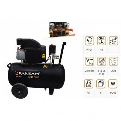 Oro kompresorius Pansam A077030, 1,5 KW, 8 bar, 50L 2