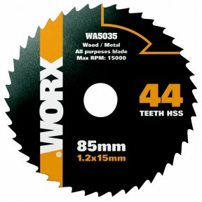 Pjovimo diskas HSS, z44, 85mm. WX423, Worx