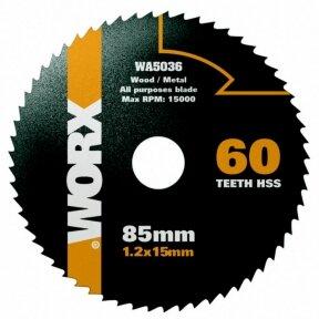 Pjovimo diskas HSS, z60, 85mm. WX423, Worx
