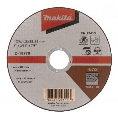 Pjovimo diskas 125 X 1,2 WA60T-BF, RST/ Metalui Makita D-18770