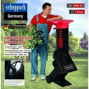 Profesionalus, viefazis šakų smulkintuvas (mulčeris) dideliems sodams - Scheppach Biostar 3000 (3 kW)