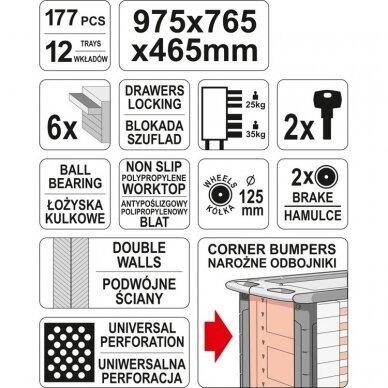 Profesionali įrankių spintelė Yato su 177 įrankiais, 6 stalčiais (YT-55300) 5