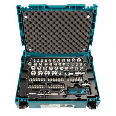 Raktų, galvučių ir antgalių rinkinys Makita E-08713, 120 vnt. su lagaminu 2