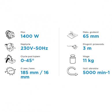 Skersavimo pjūklas Graphite 59G800, 1400W 2