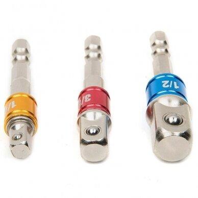 """Smūginių adapterių komplektas: iš 1/4"""" į 1/4"""", 3/8"""", 1/2"""""""
