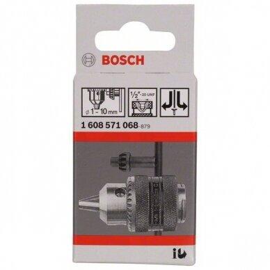 Vainikinis griebtuvas Bosch iki 10 mm, užveržiamas raktu 2